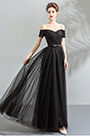 eDressit Black Off Shoulder pleated Bodice Party Prom Dress (36204500)