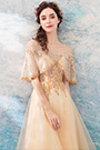 eDressit Gold Cape Embroidery Beaded Evening Gown Party Dress (36190514)