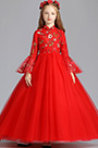 eDressit Red Long Embroidery Flower Girl Stage Dress (27198502)