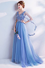 eDressit Blue Embroidery Cape V-Cut Party Evening Dress (36193105)