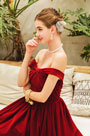 eDressit Sexy Burgundy OFF Shoulder Velvet Party Prom Dress (36223017)