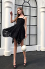 eDressit Black Sexy Spaghetti Feather Lace Party Cocktail  Dress (35198600)