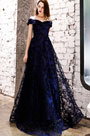 eDressit Sexy Blue Off  Shoulder Beads Long Prom Party Dress (36219505)