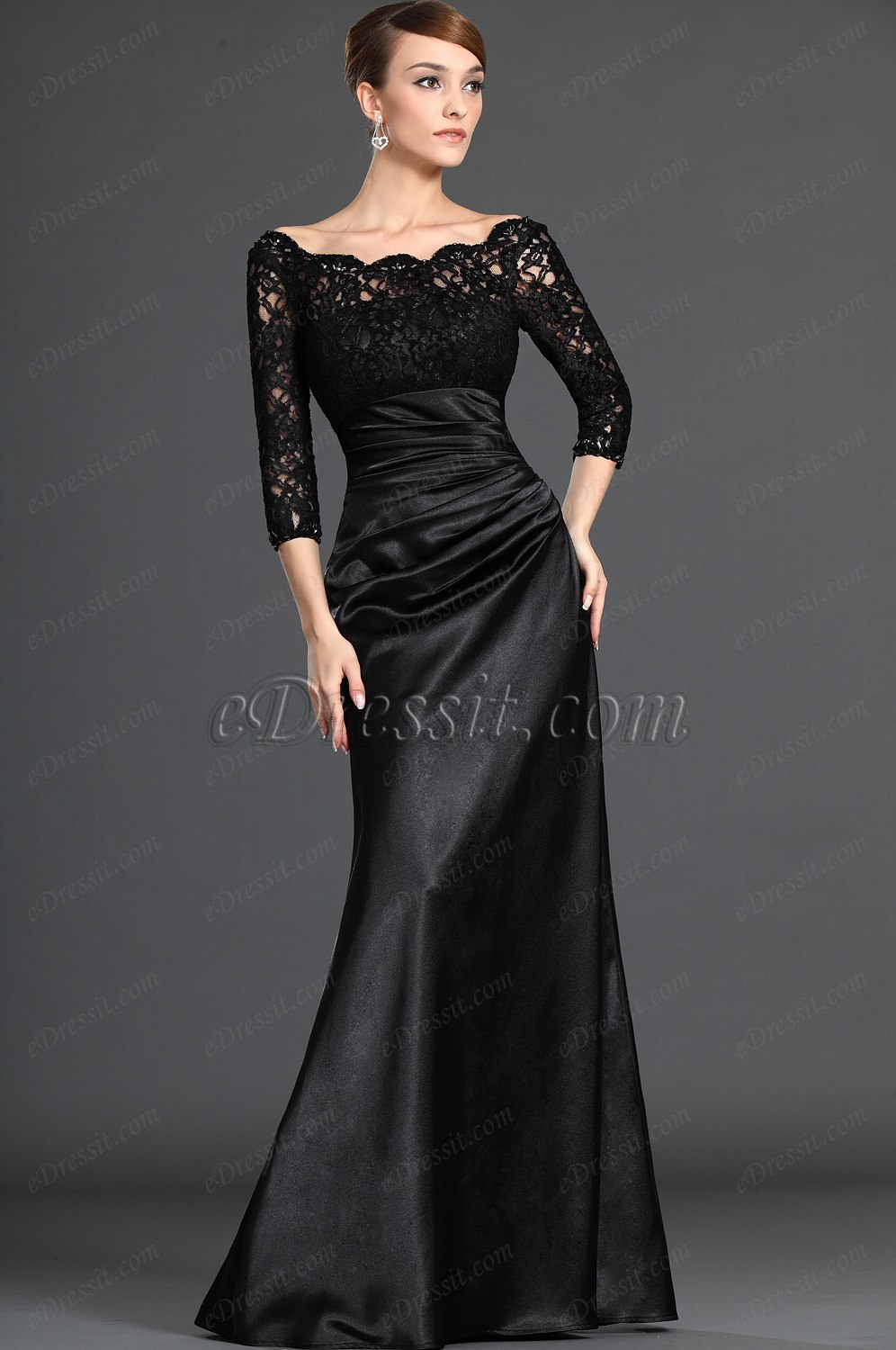 eDressit Stylish Black Lace Sleeves Mother of the Bride Dress ...