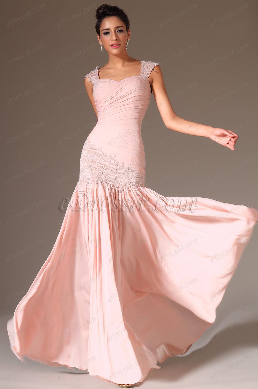 Robe Rose Poudrée à edressit robe de soirée/bal longue rose  dentelle(00142201)
