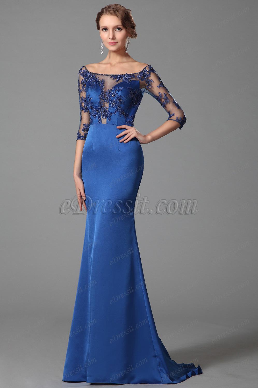 Elegant Blue Off Shoulder Half Sleeves Prom Dress Evening Gown ...
