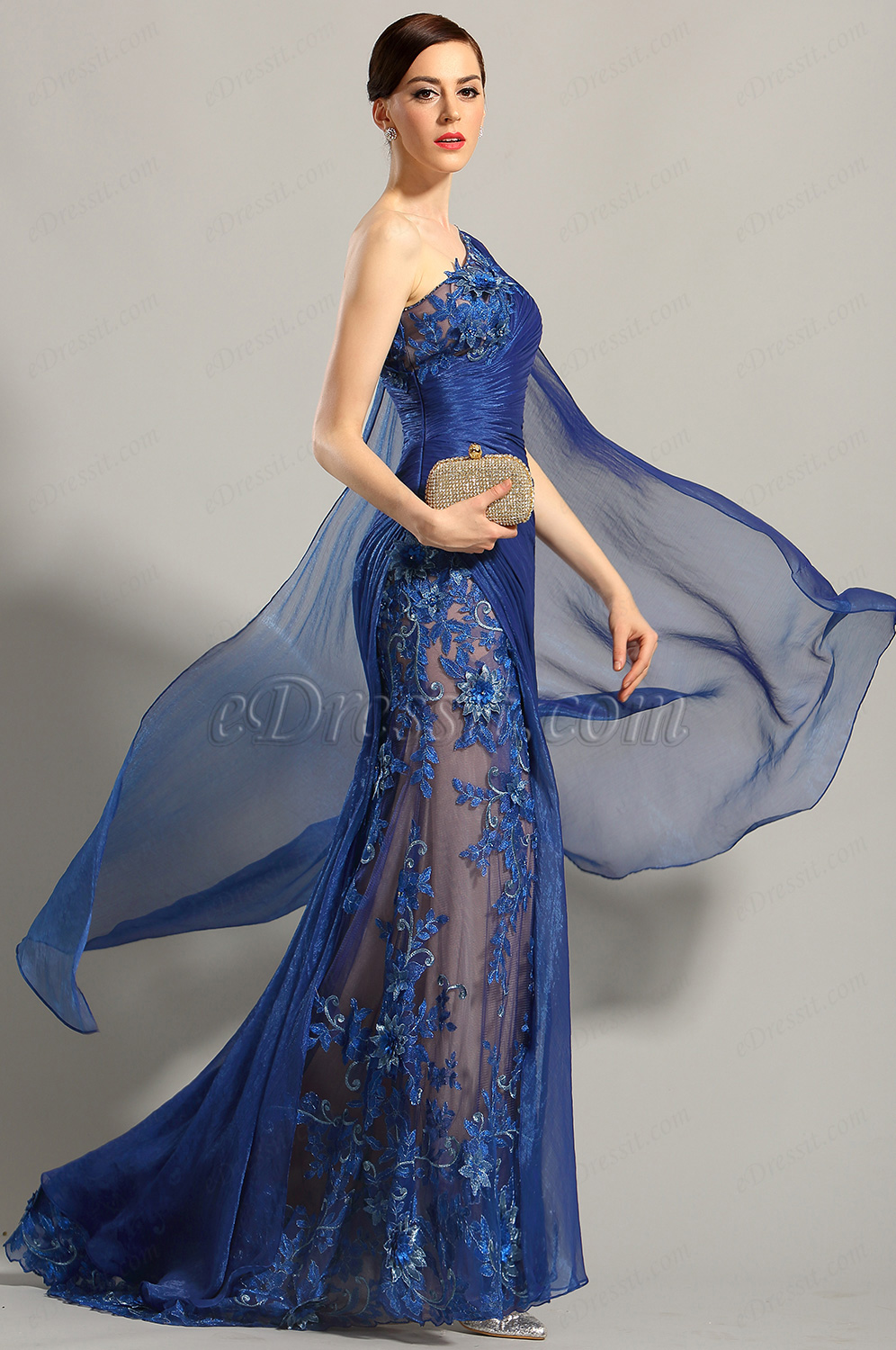 eDressit One Shoulder Embroidered Blue Evening Gown Prom Dress ...