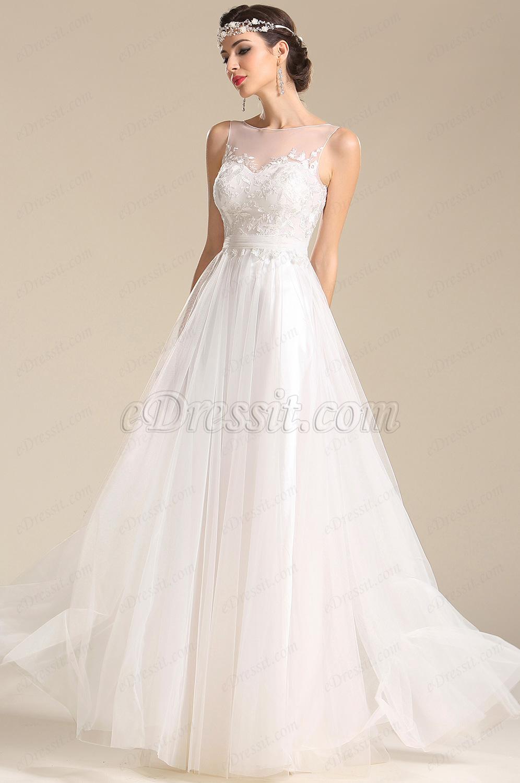 edressit a line sleeveless lace applique reception wedding dress