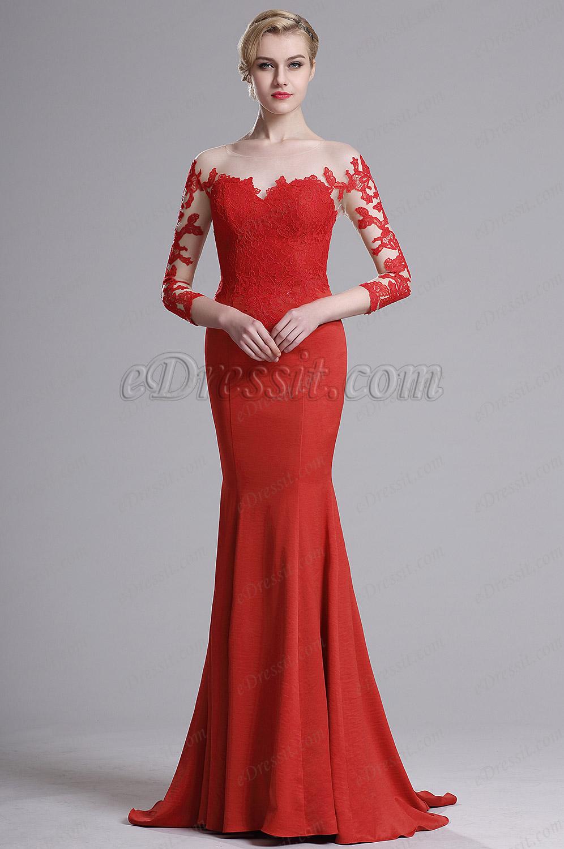 285a7788de4 eDressit Robe de Soirée Sirène Broderie Manches 3 4 Rouge (02164102) ...