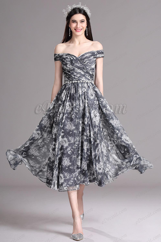 Sapphire Blue Cocktail Dresses Tea Length