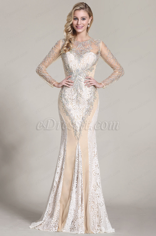 81d05360ba2 eDressit robe de soirée longue dentelle sirène bijoutée (C36152514) ...