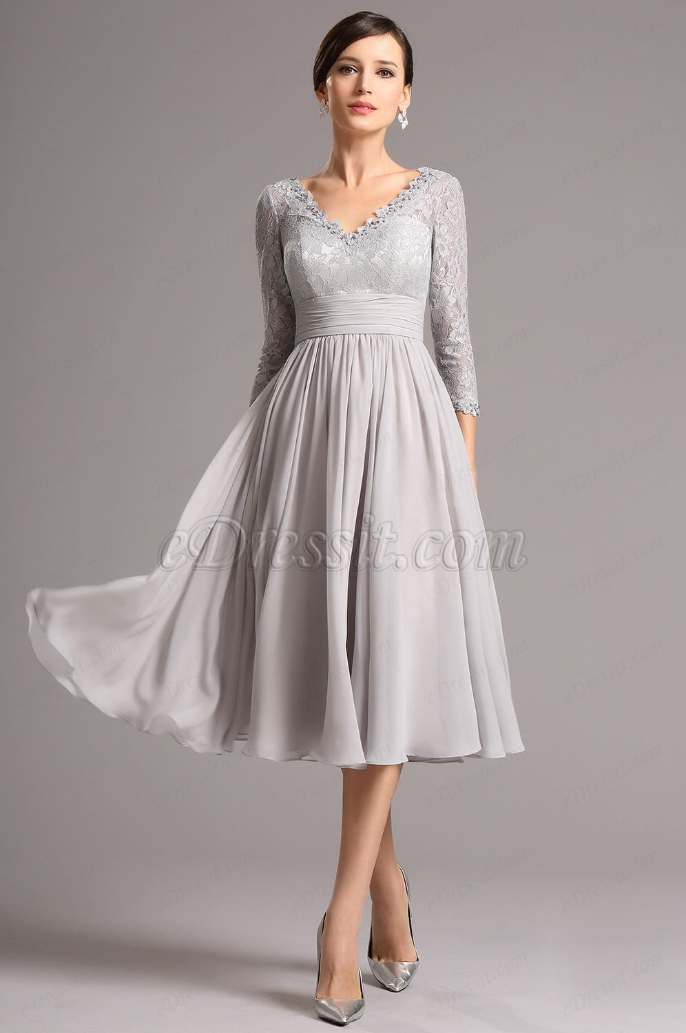 Long Lace Sleeves Plunging Neck Grey Tea Length Dress (26160108)