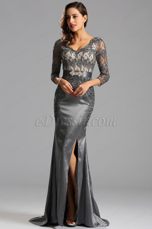 Amazing High Slit Grey Evening Dress Formal Gown (X26152508)