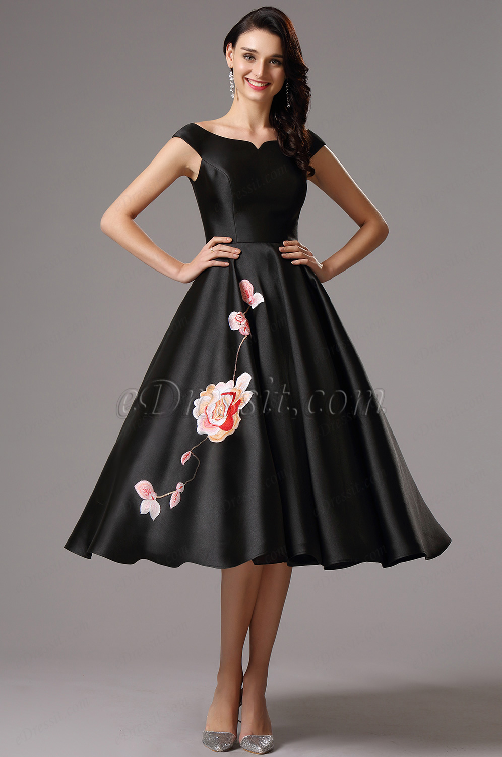 Black Tea Length Evening Gown