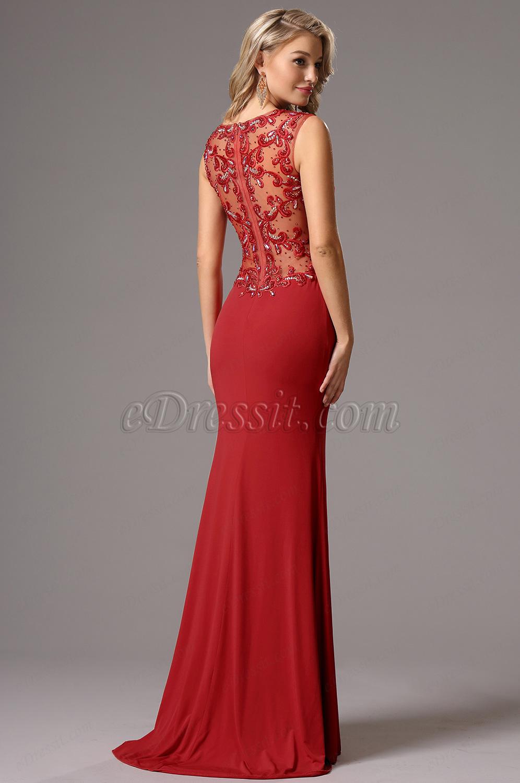 9ebe045e937 eDressit robe de soirée longue rouge sans manche bijoutée (36161002) ...