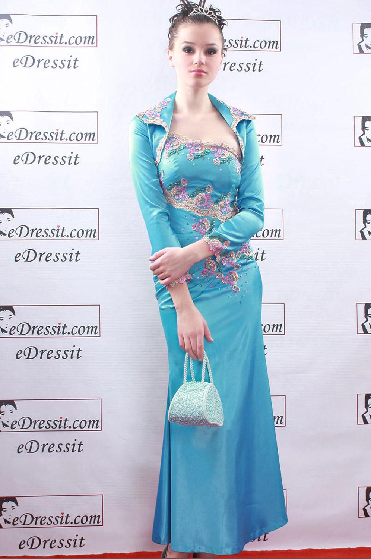 eDressit Azul Vestido de Noche Fiesta + Chaqueta (00060205)
