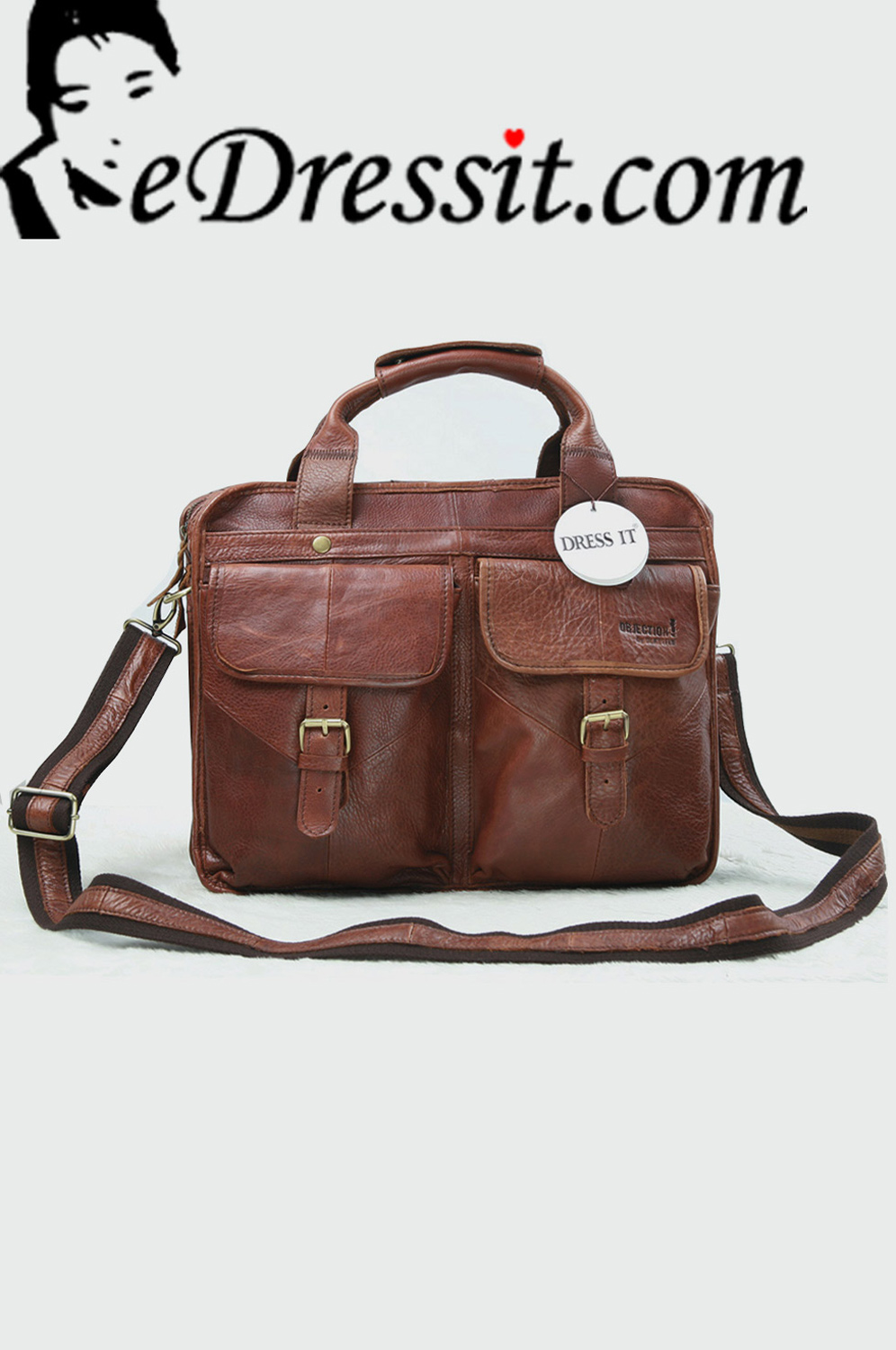 eDressit Leather Men's Messenger Shoulder Bag Briefcase (08080409)