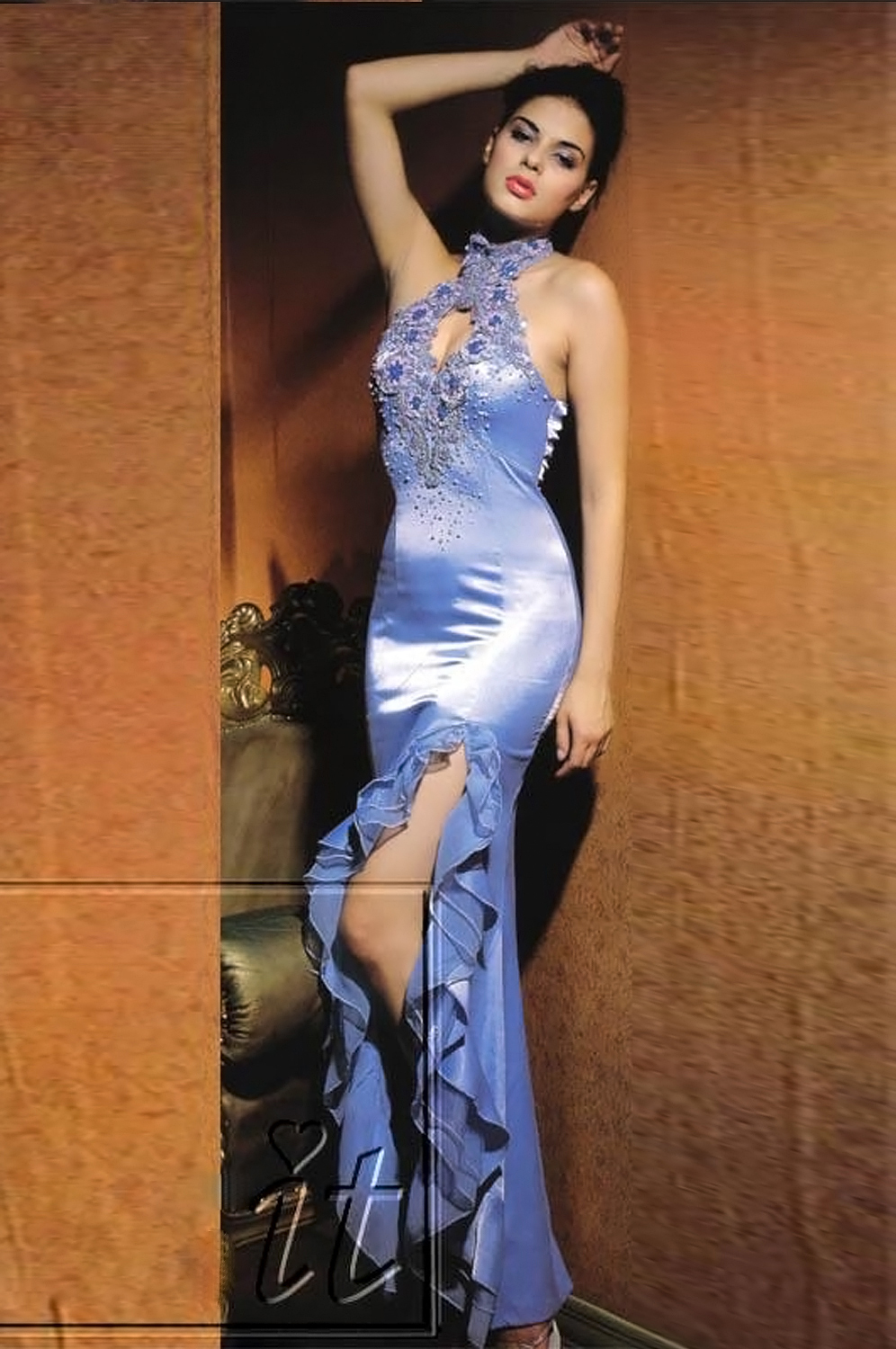 eDressit Blue Halter Beads Elegant Prom Gown Evening Dress (00068032)