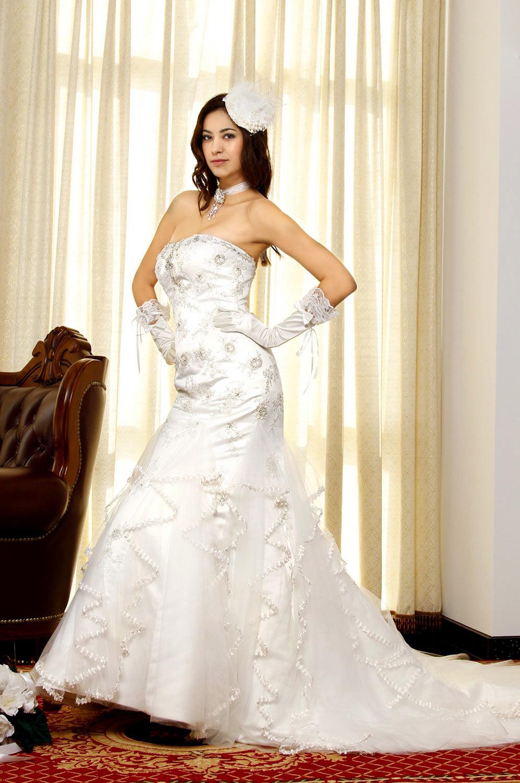 eDressit Rein Weiß glamouröse trägerlose Brautkleid (01092507)