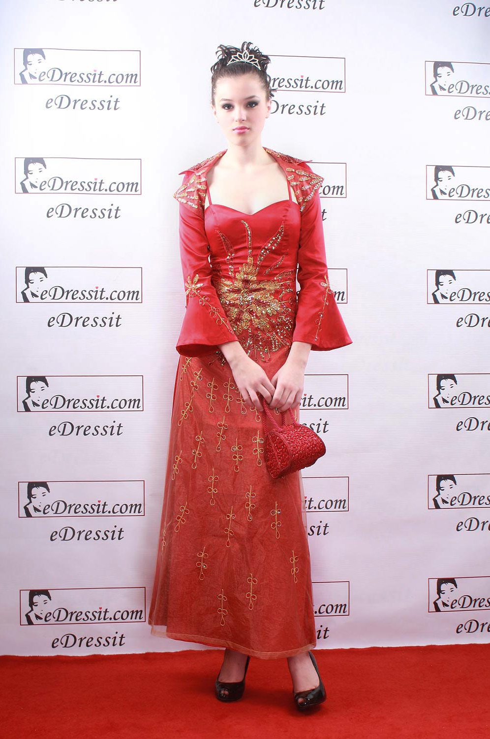 eDressit Red Elegant embroidery Gown Evening Dress with Jacket (00067602)
