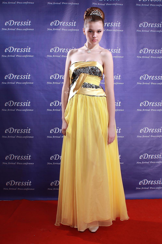 eDressit Robe de Soirée Superbe Jaune et Or avec Sequins (00083003)