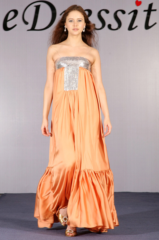 eDressit Elegant Orange Sequined Evening Dress (00093410)