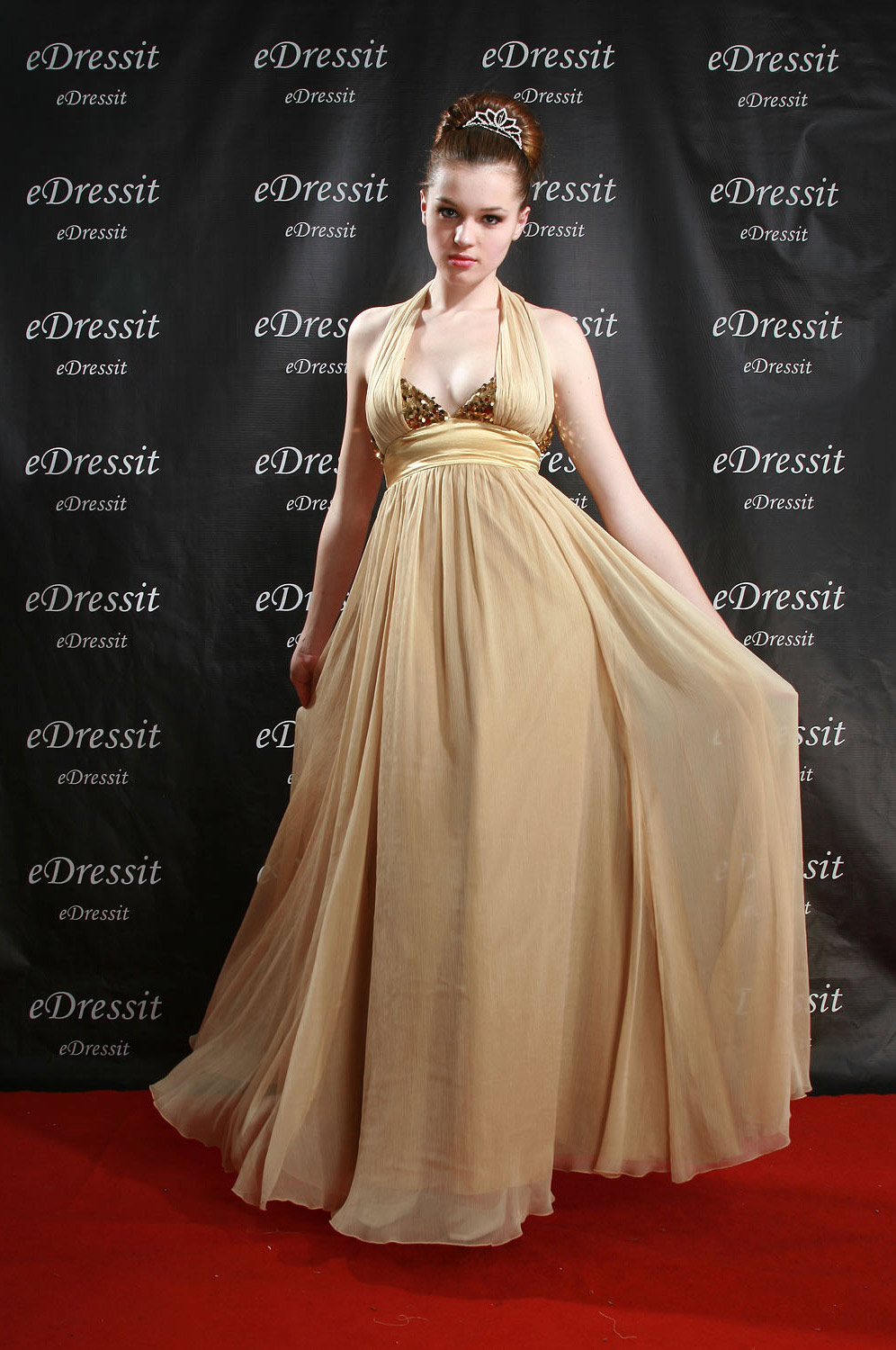eDressit Deep V-Cut Sexy Gold Prom Ball Gown Evening Dress (00083514)