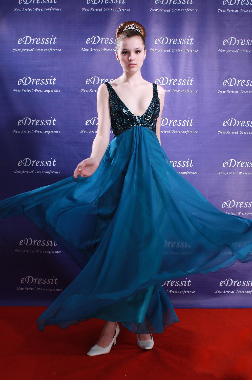 eDressit Azul Lujoso Vestido Largo de Fiesta/Noche (00082005)