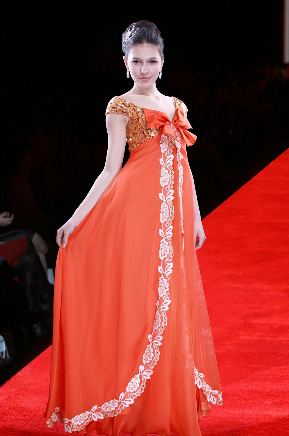 eDressit Gorgeous Orange-bowknot Elegant Gown Evening Dress (00090510)