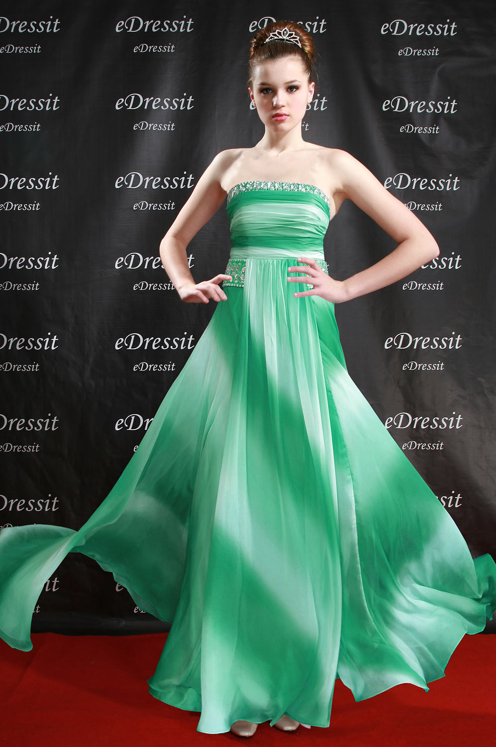 eDressit Dramatic Gradient Strapless Evening Dress (00096204)