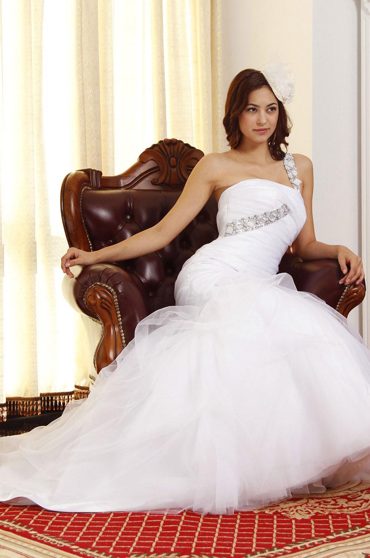 eDressit Elegant Rein Weiss Diamanten und Perlen Brautkleid (01092407)