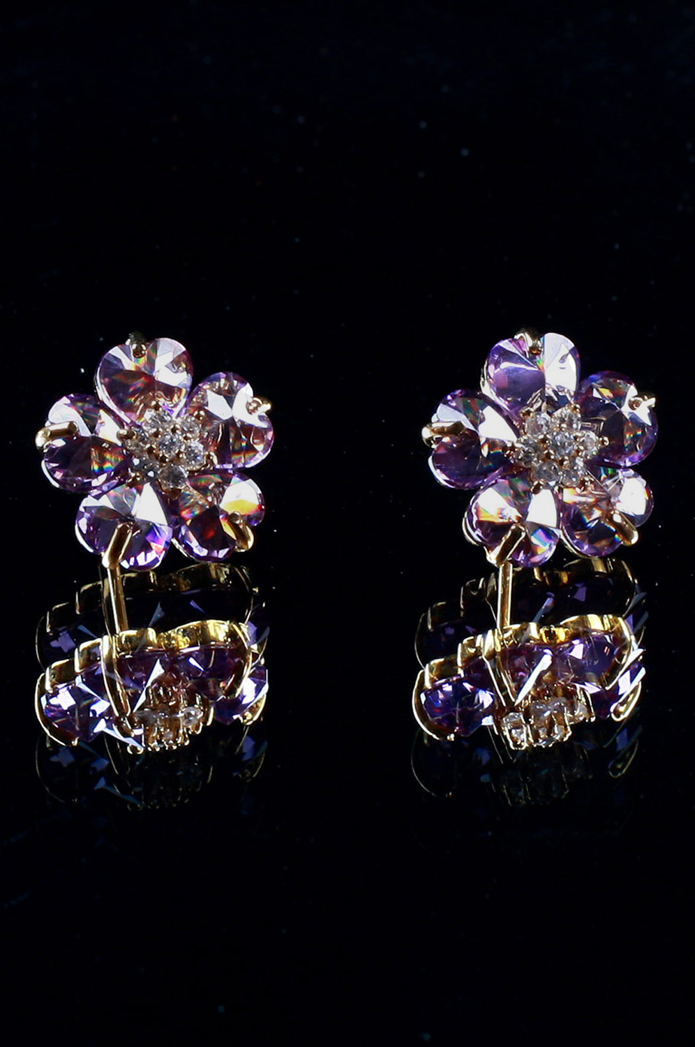 eDressit Purple Flower Shape earring (11090606)