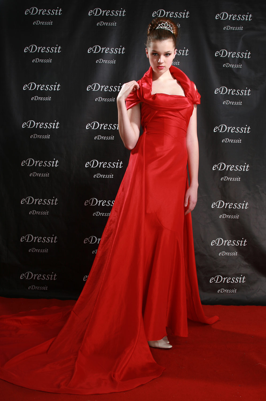 eDressit Hedi Klum Rouge Robe de soirée avec la traine (00082902a)