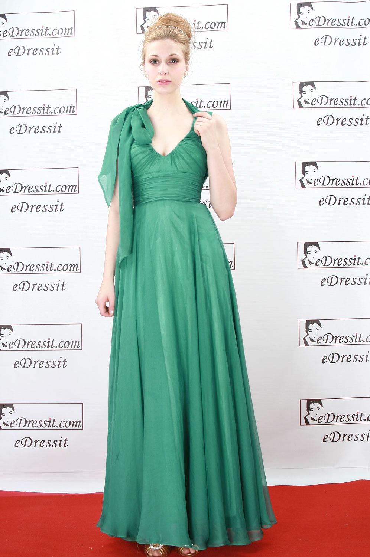 eDressit Robe de Soirée V-col vert (00081304)
