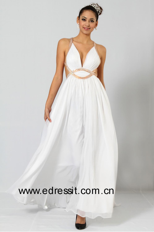 eDressit Jennifer Lopez Robe de Soirée Magnifique V-col Blanc (00099507)