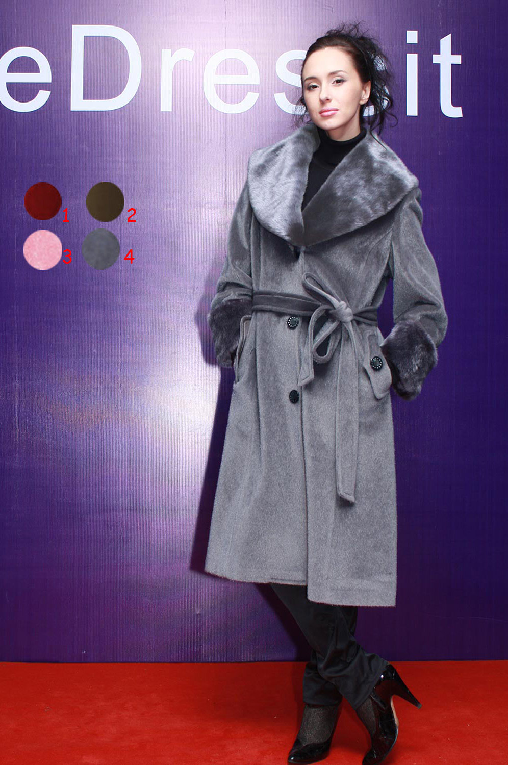 eDressit New Women Grey Coat with Fur Collar Custom Made (24080135)