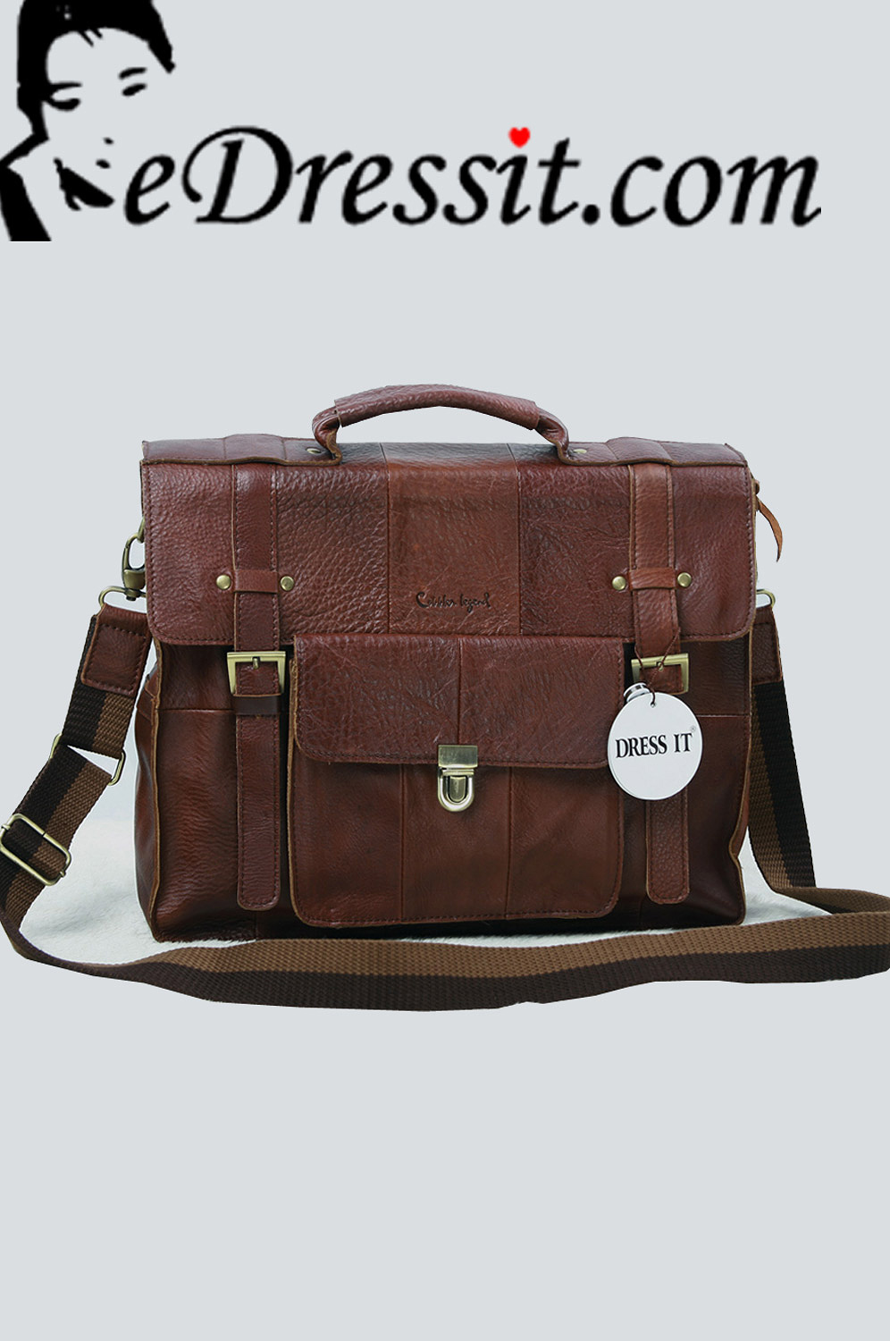 eDressit Leather Men's Messenger Shoulder Bag Briefcase (08080520)