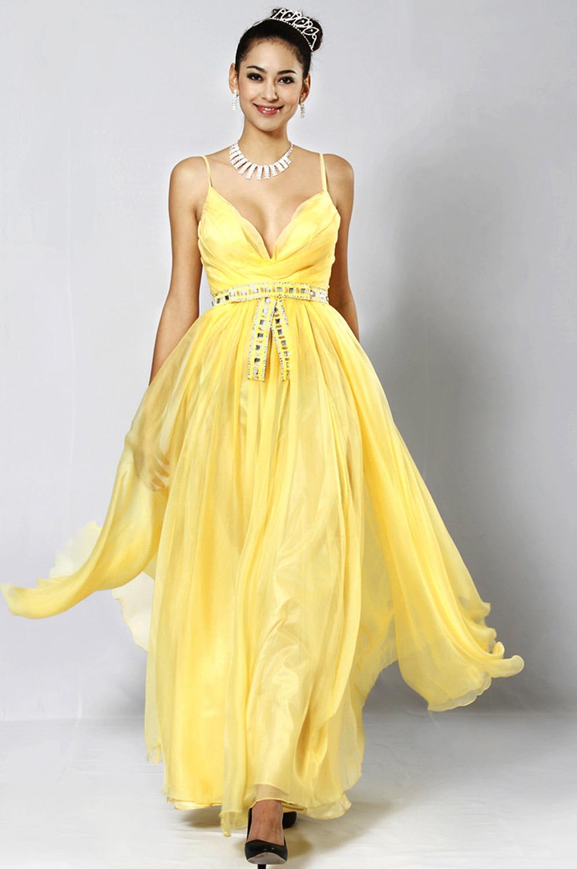 eDressit Sexy Gelbes Abendkleid (00081703)