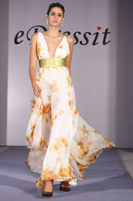 eDressit Elegant Floral v-cut Evening Dress (00091768)