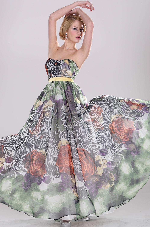eDressit Floral Vestido de Noche Sin Tirante (00092568)