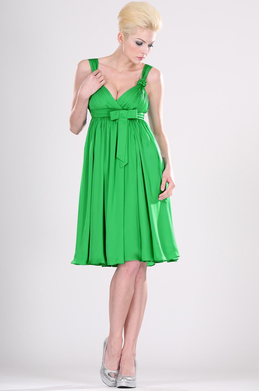 Robe de cocktail verte taille empire d collet sexy 04101104 for Robes de mariage de taille empire