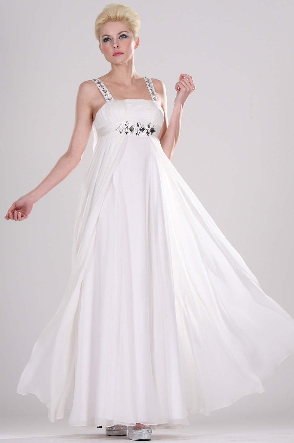 eDressit White Beaded Evening Dress (00095407)