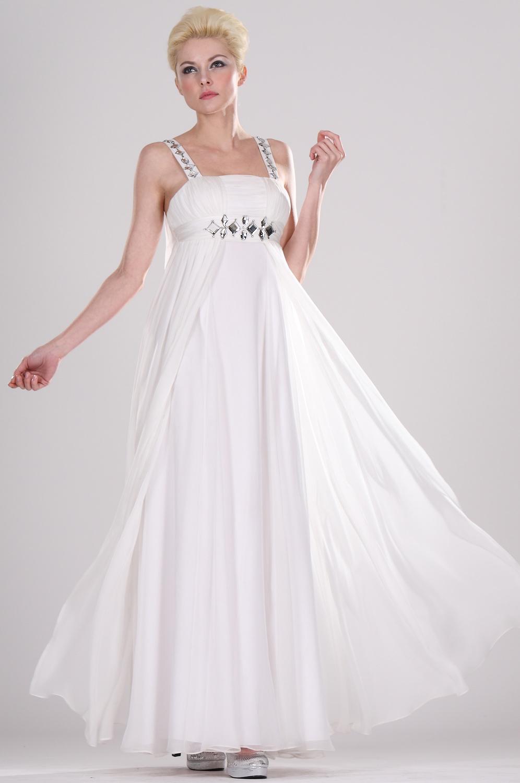 eDressit Träger Weiss elegant Perlen scharmant Abendkleid (00095407)