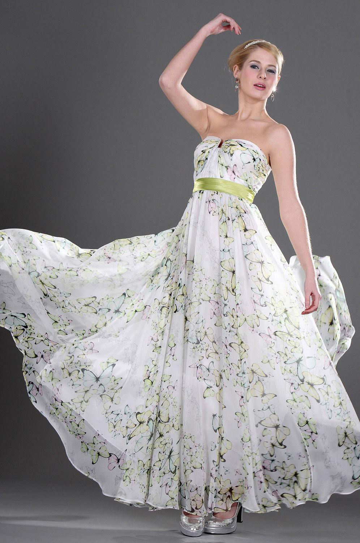 eDressit Trägerlos Schmetterling floral Seide Chiffon Abendkleid (00092168)