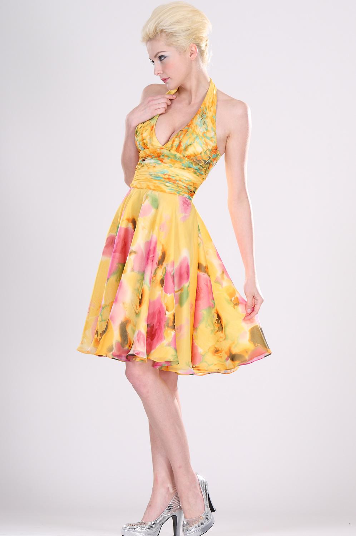 eDressit Vestido  Floral Cóctel Amarrillo (04101503)