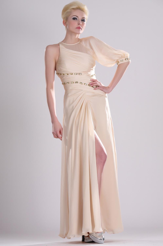 eDressit  Ein-Aermel Perlen  Abendkleid (00104714)