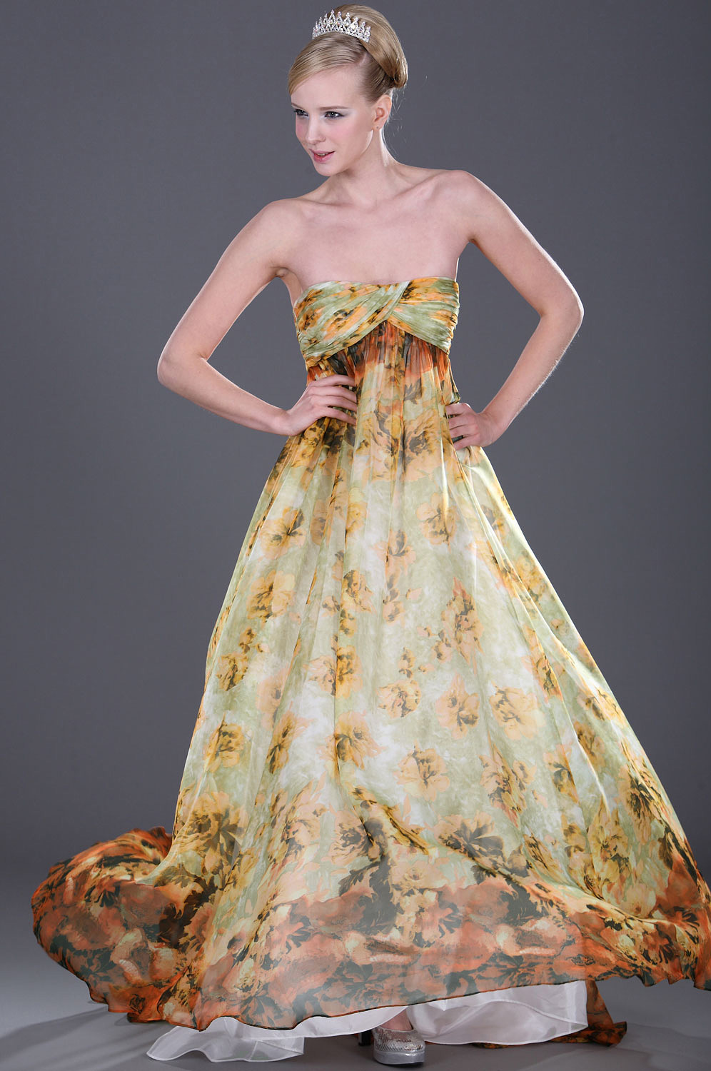 eDressit Strapless Floral Evening Dress (00094510)