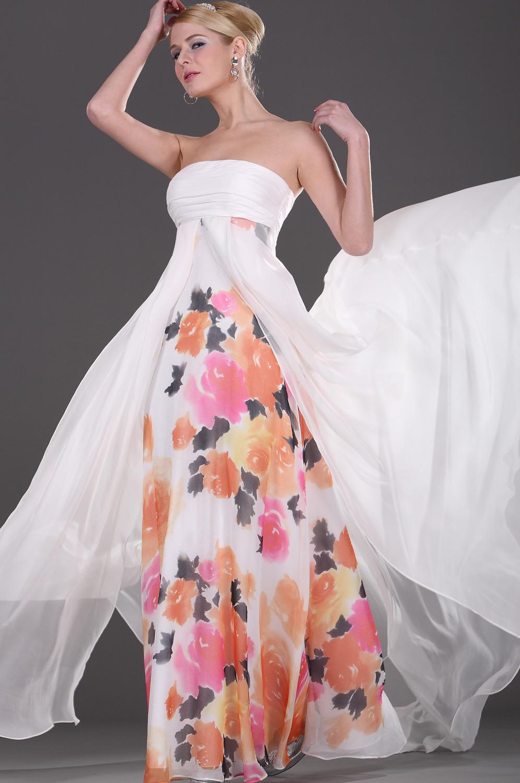 eDressit Trägerlos  scharmant  Weiß flora  Abendkleid (00103507)