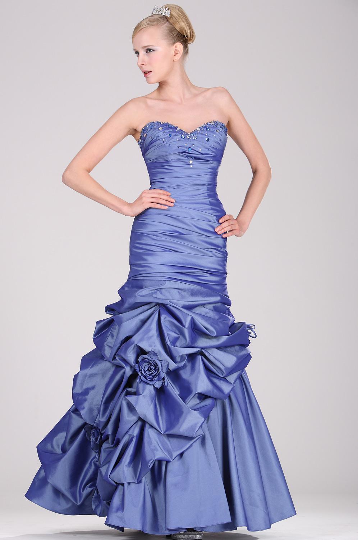 eDressit Trägerlos  Elegant  Blau Perlen Ballkleid (28100805)