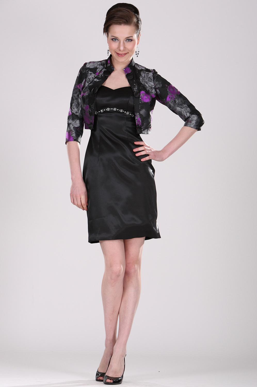 eDressit Elegant  V-Schnitt Schwarz  Kleid für Mutter mit Jacke (26101100)